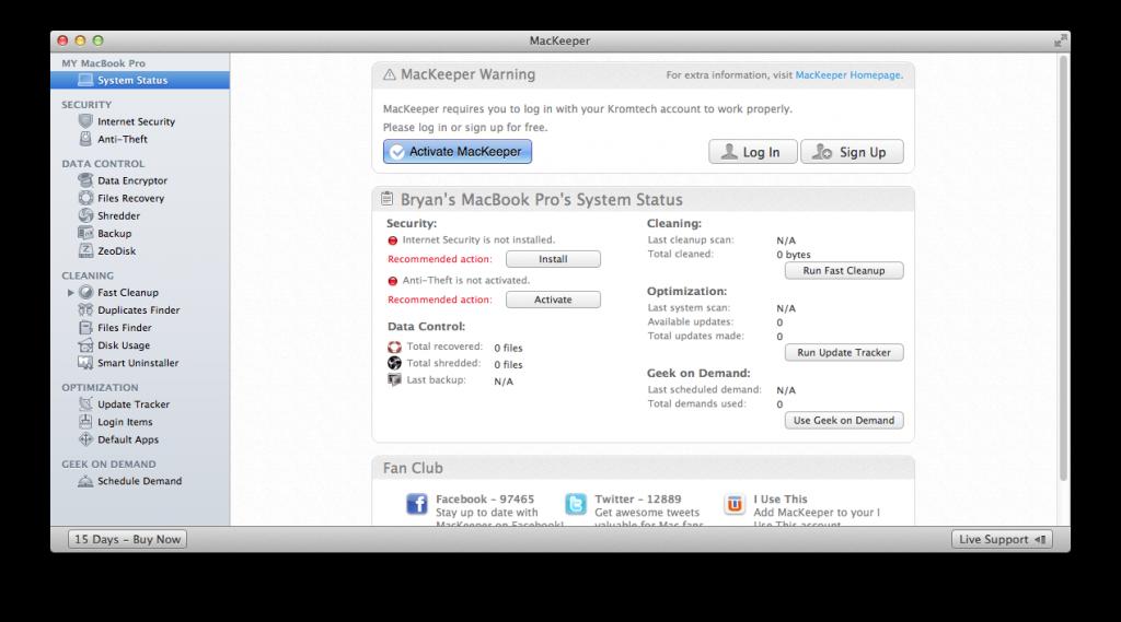 MacKeeper Default View